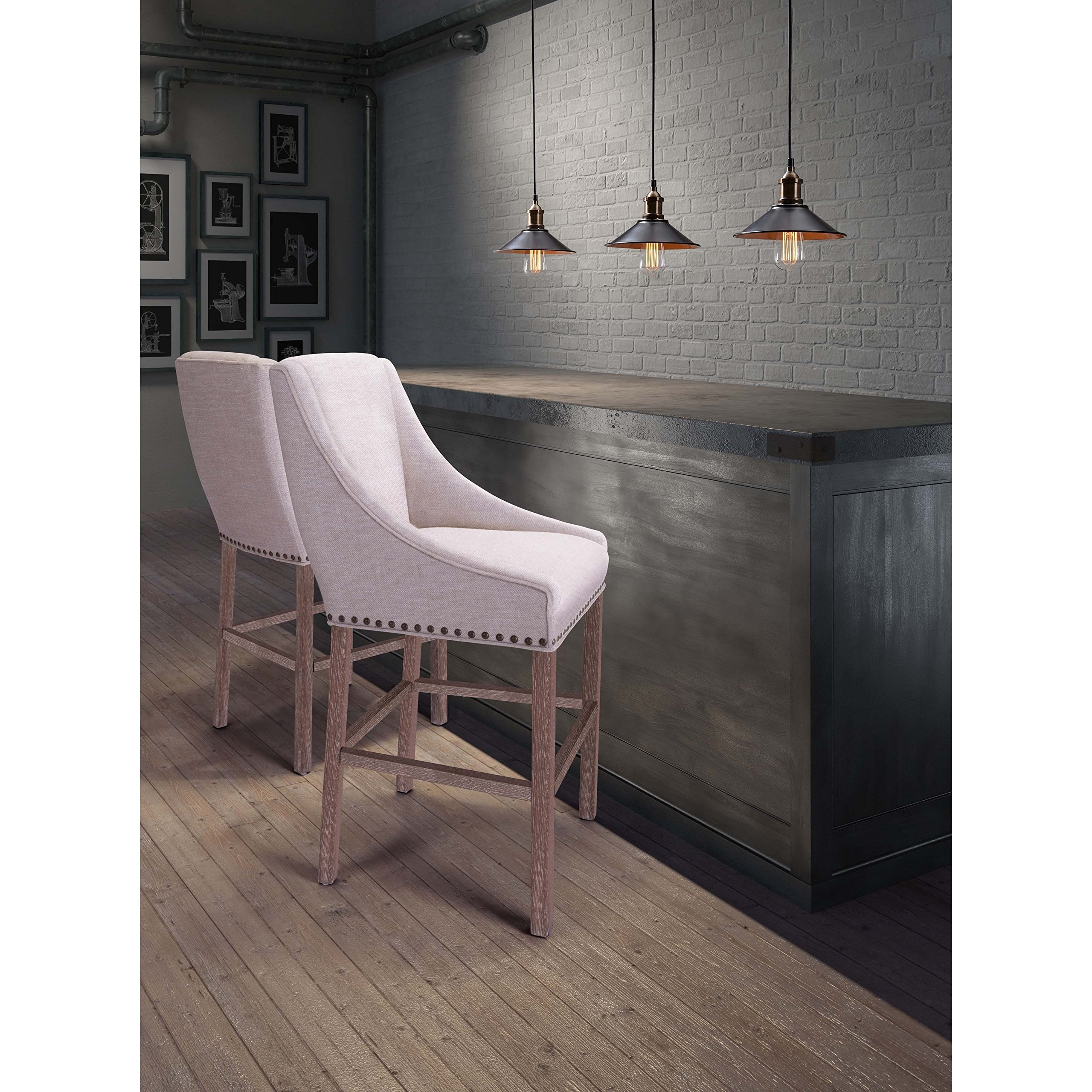 Zuo Indio Oak Wood and Beige Polyester Bar Chair