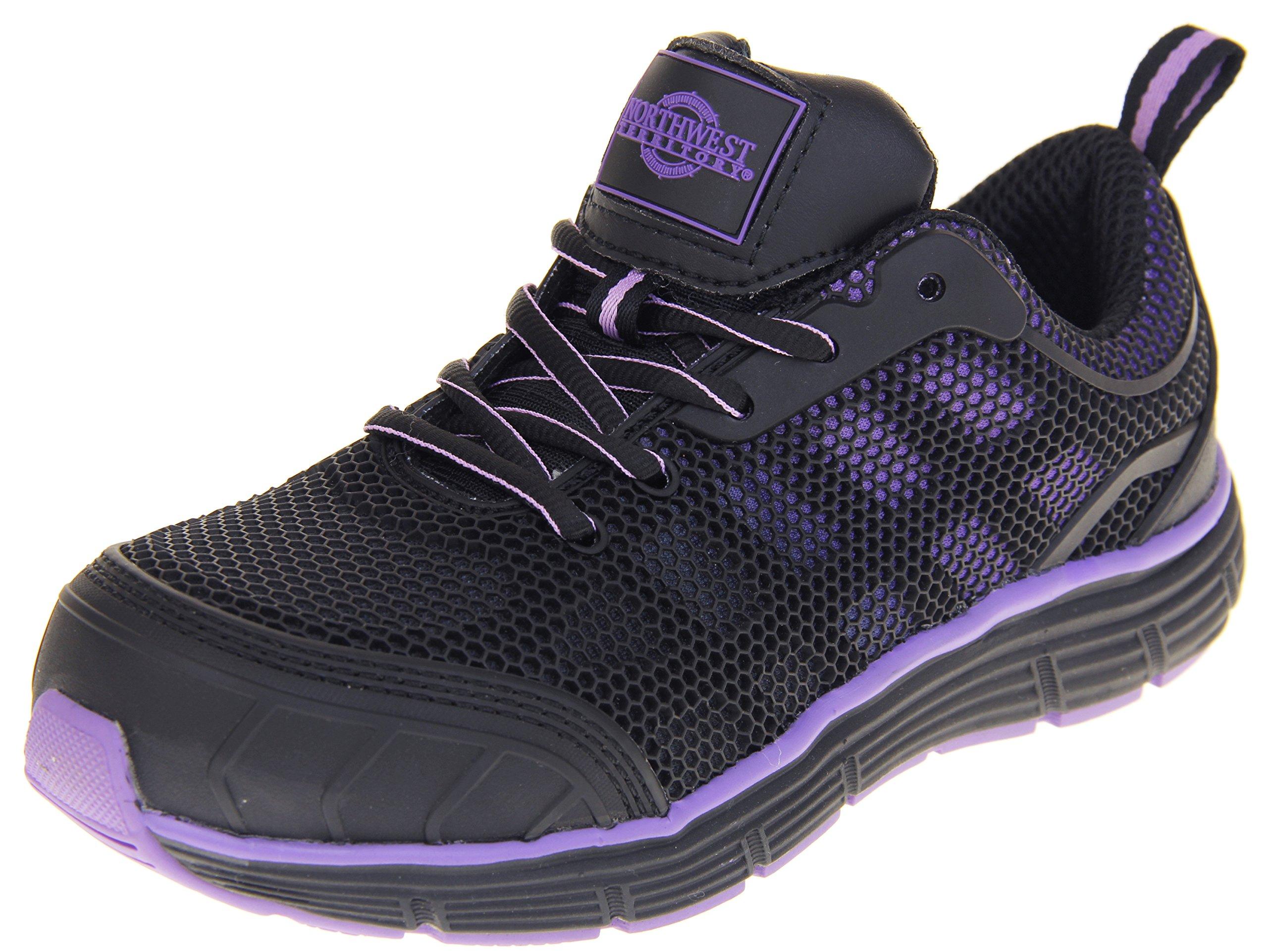 Ladies Northwest Territory Beniah Steel Toe Safety Shoes Black and Purple 7 US