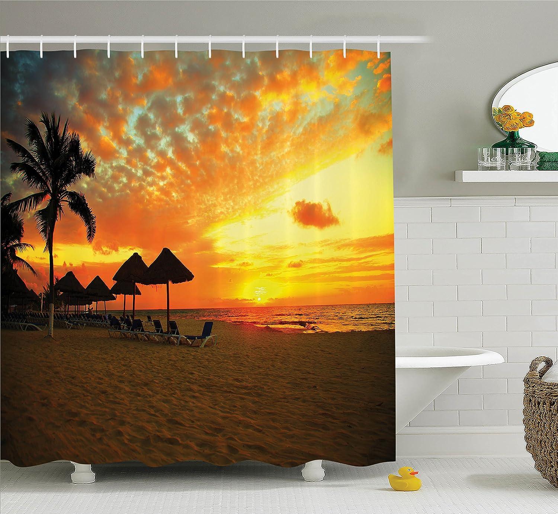 Amazon.com: Seaside Decor Shower Curtain Set By Ambesonne, Sunset ...
