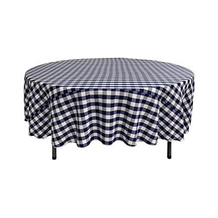 Charmant LA Linen Poly Checkered Round Tablecloth, 72 Inch, Navy/White