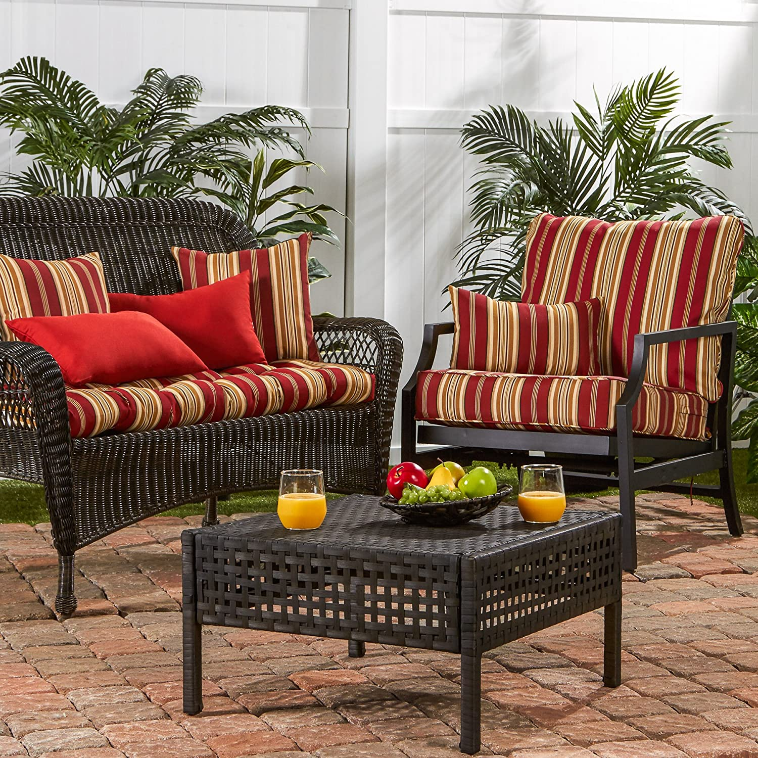 Amazon.com : Greendale Home Fashions Deep Seat Cushion Set, Roma Stripe :  Garden U0026 Outdoor
