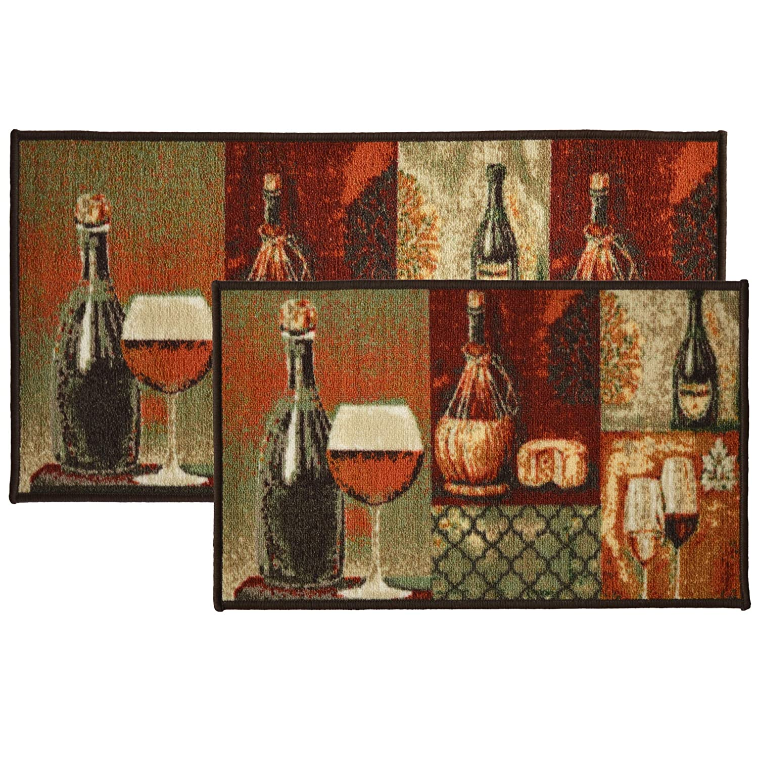 Kashi Home 2pc Cheese and Wine Kitchen Rug Set, Area Rug, Mat, Carpet, Non-Skid Latex Back (18x30 Rectangle & 20x40)