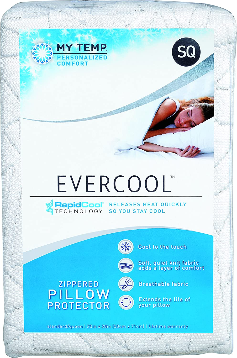 """My Temp Evercool Cooling Pillow Protector – Soft RapidCool Fiber is Cool to the Touch and Releases Heat, Extends the Life of Your Pillow, Machine Washable – Standard/Queen 20""""x28"""", Cracked Ice Pattern"""