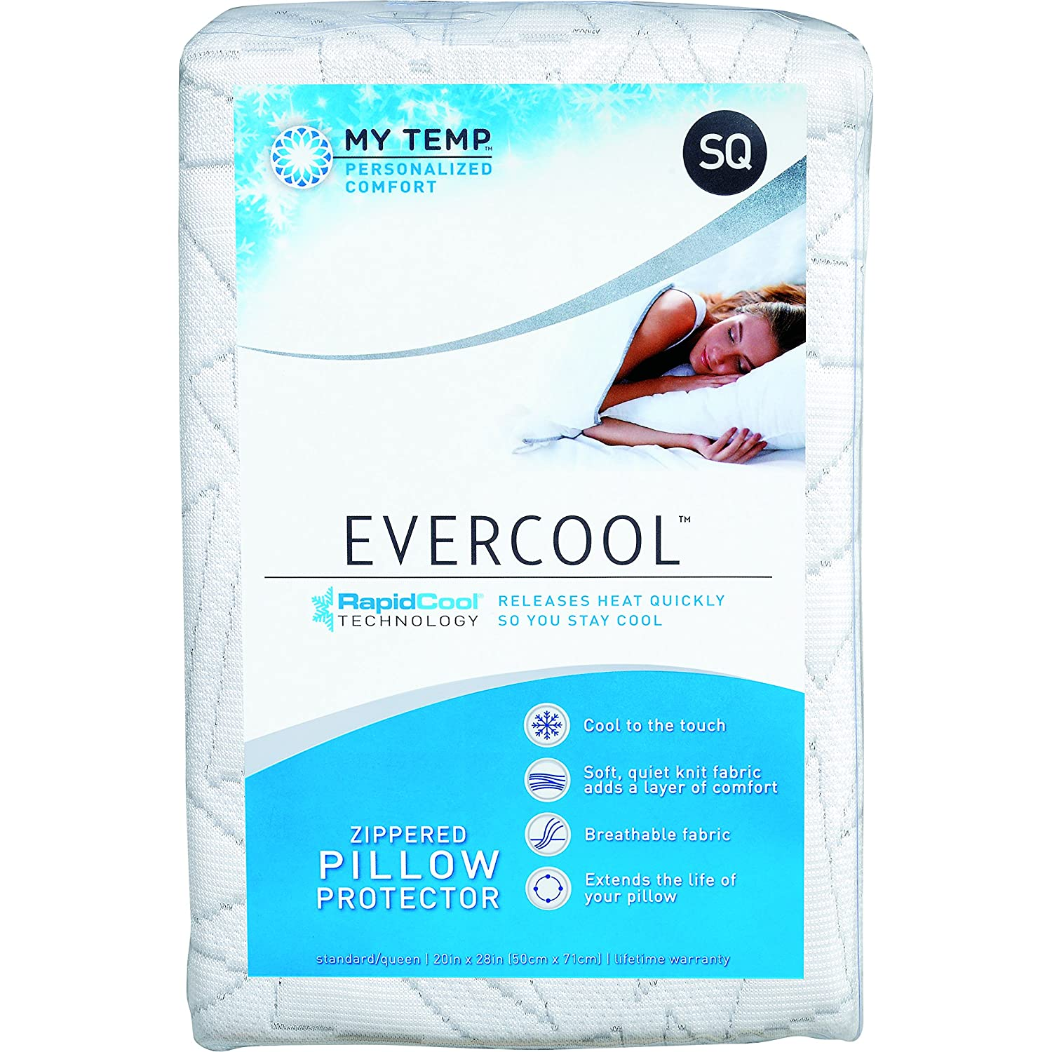 Standard//Queen Cracked Ice MyTemp Personalized Comfort Cooling Pillow Protector
