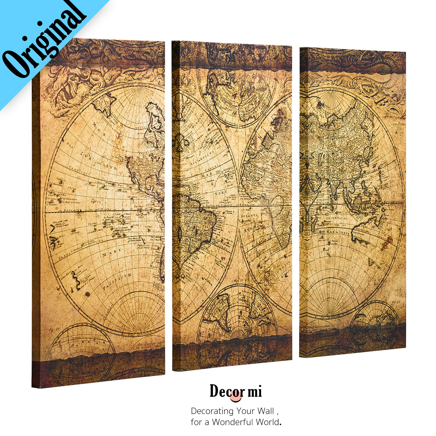 Hanging Framed Wall Art Vintage World Map Canvas Stretched Home ...