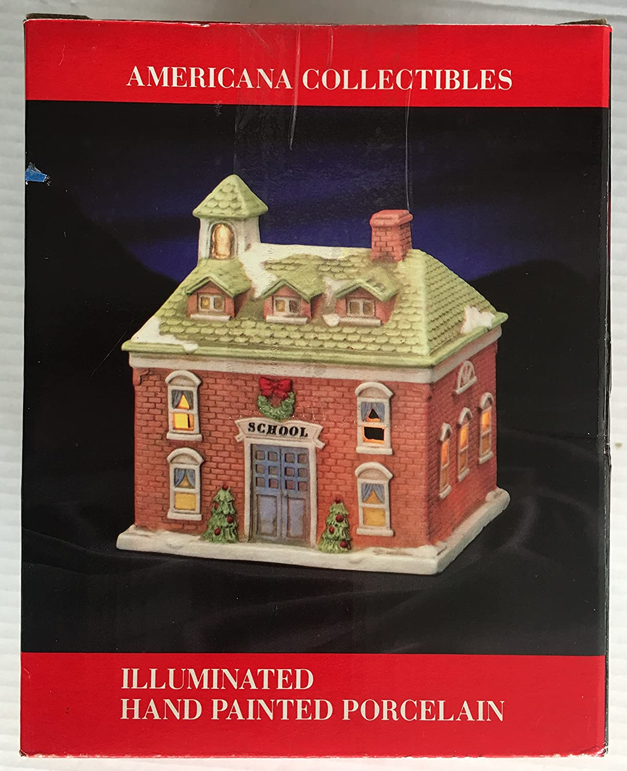 Christmas Hand Painted Porcelain School Illuminated Building Americana Collectibles