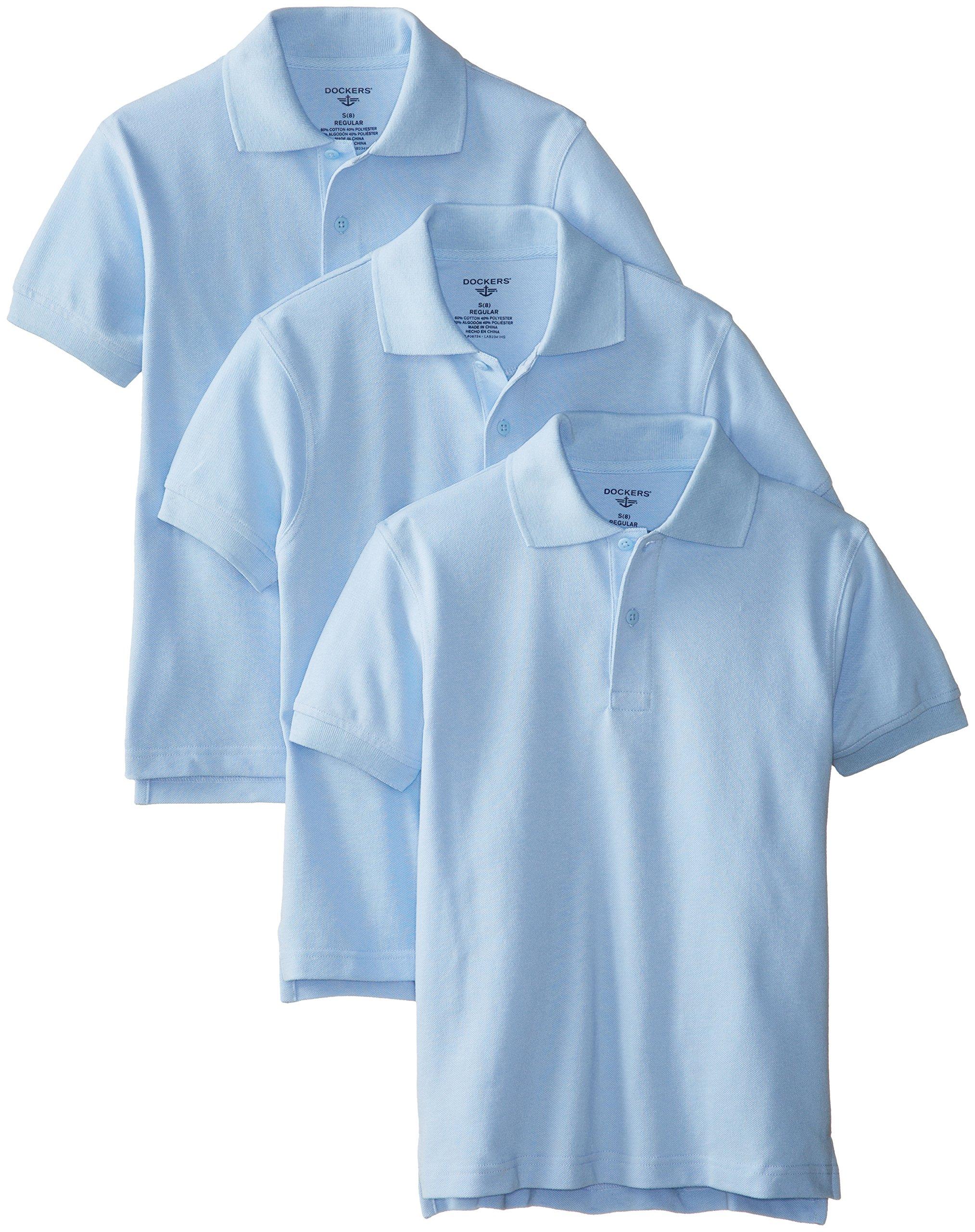 Dockers Big Boys' Uniform 3 Pack Short Sleeve Pique Polo Bundle, Light Blue, Medium/10/12