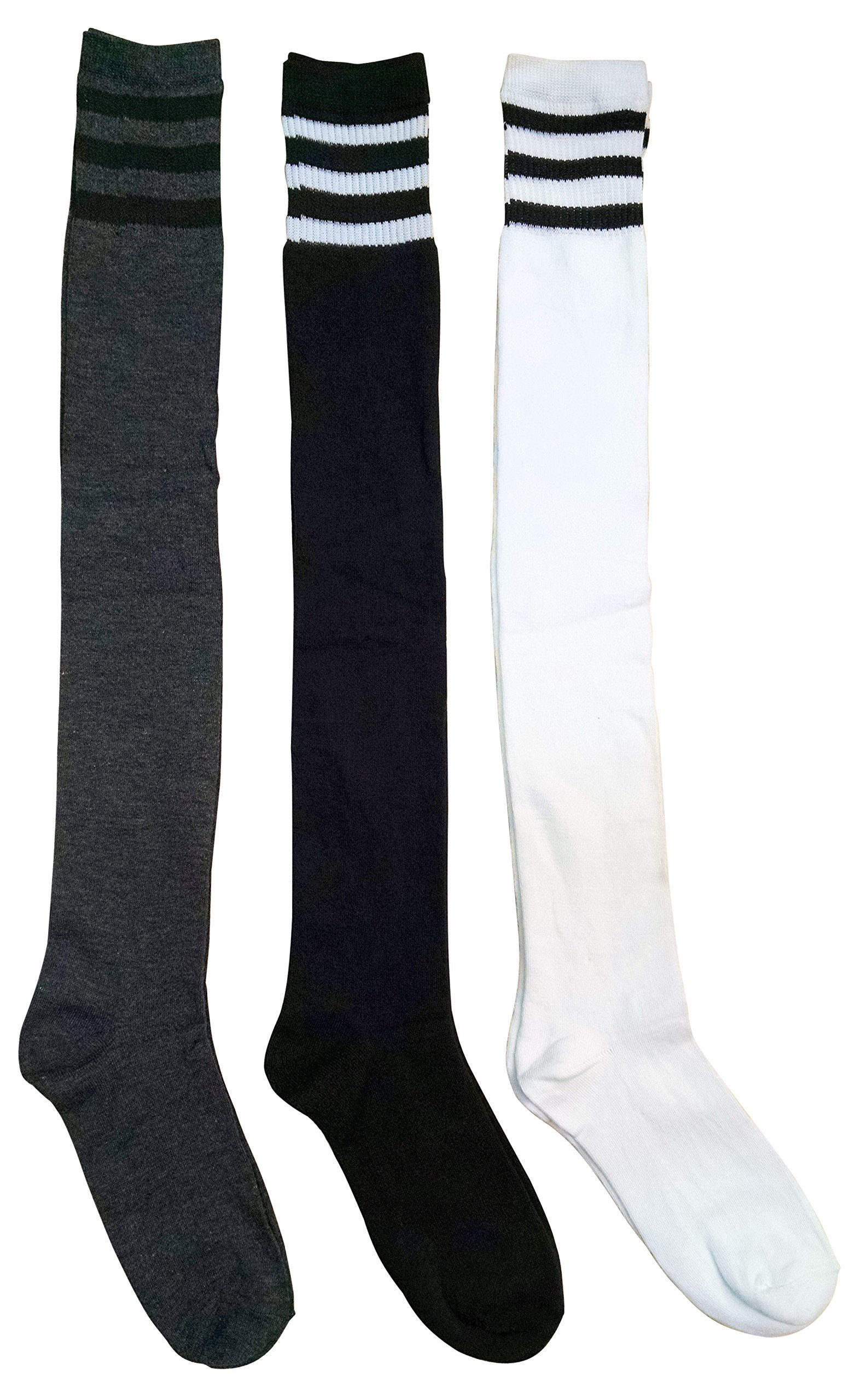 3 Pair excell Women's Over the Knee Thigh High Referee Socks