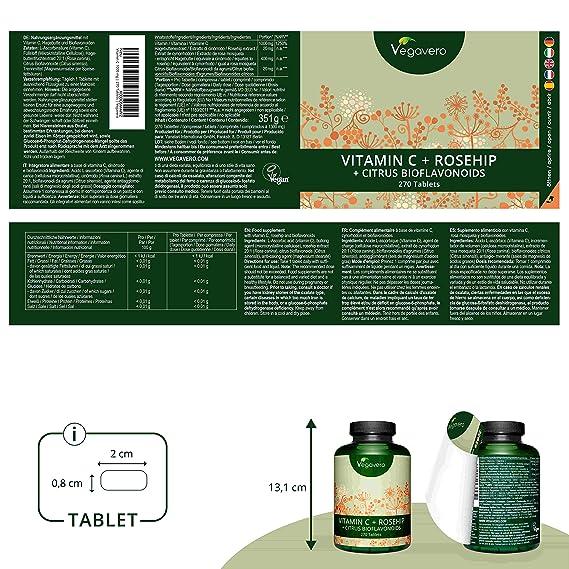 Vitamina C Vegavero® 1000 mg | 270 Comprimidos | Con BIOFLAVONOIDES + ROSA DE MOSQUETA | Vegana | Piel + Refuerza las Defensas