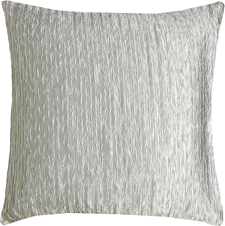"Rizzy Home T06487 Decorative Pillow, 18""X18"", Gray/White/Metallic"