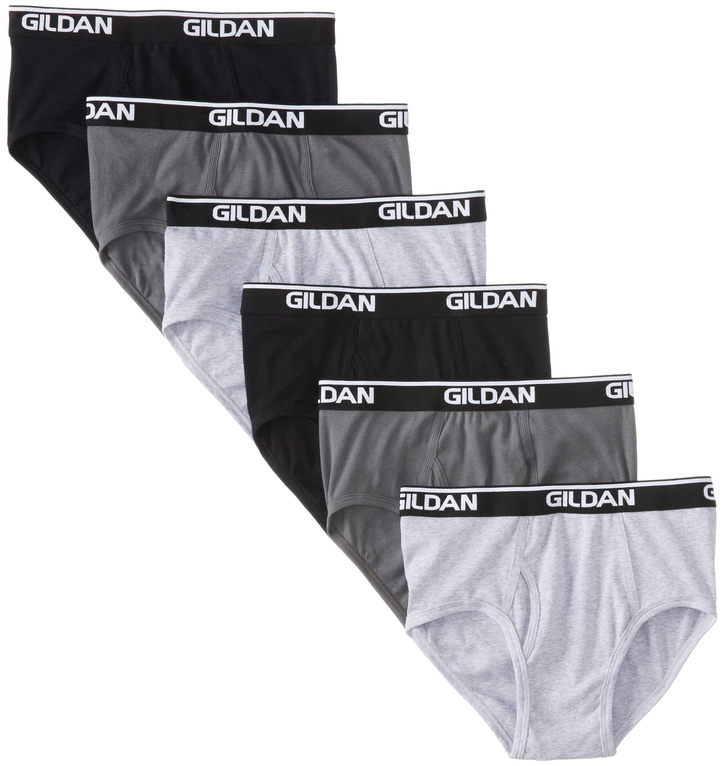 Gildan Platinum 6-Pack Cotton Brief Black/Charcoal Large