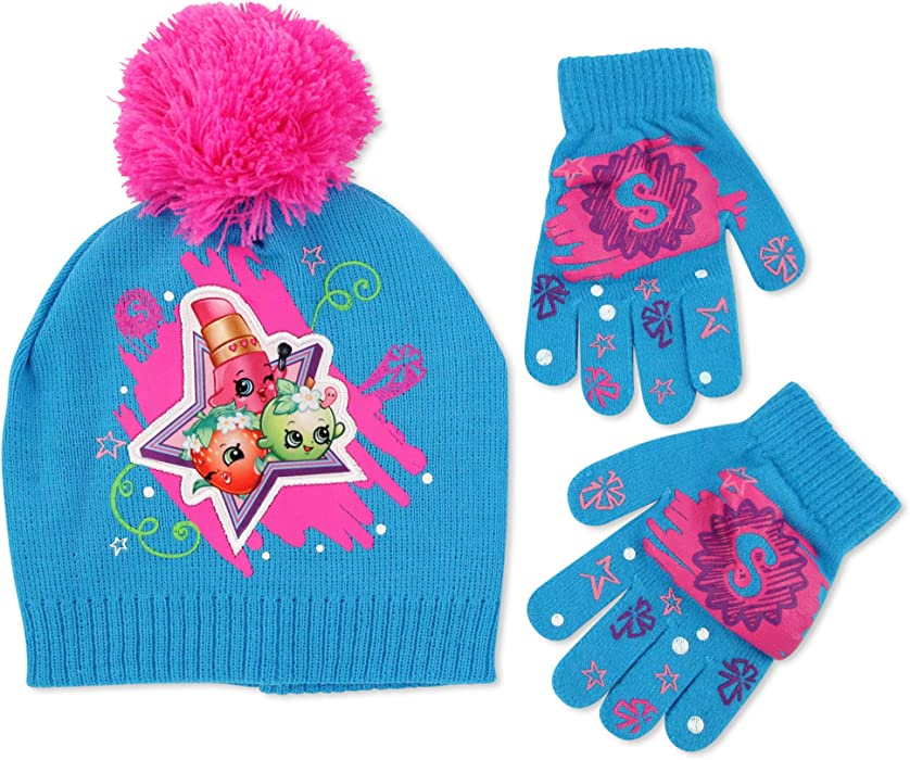 ab648af1c55 Moose Big Girls Shopkins Acrylic Knit Winter Beanie Hat with Knit Pom and  Matching Glove Set