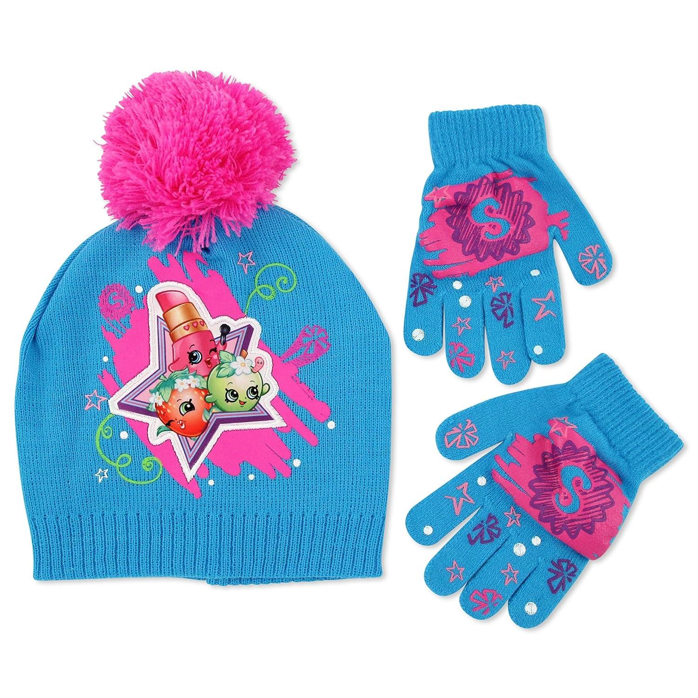 Moose Big Girls\' Shopkins Pom Hat/Gloves Set Blue One Size SPF67971AZ-Bl-OS