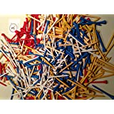 JL Golf wooden tees. Choose colour, quantity and length 54mm, 69 / 70mm or 82 / 83mm. White, red, natural, blue, yellow