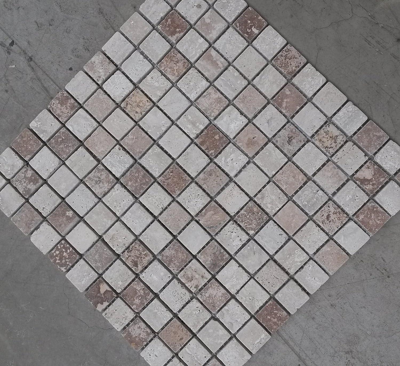 Naturstein Matte Travertin Fliesen X Cm Mm Mosaik Beige Mix - Bodenfliesen 15x15 rot