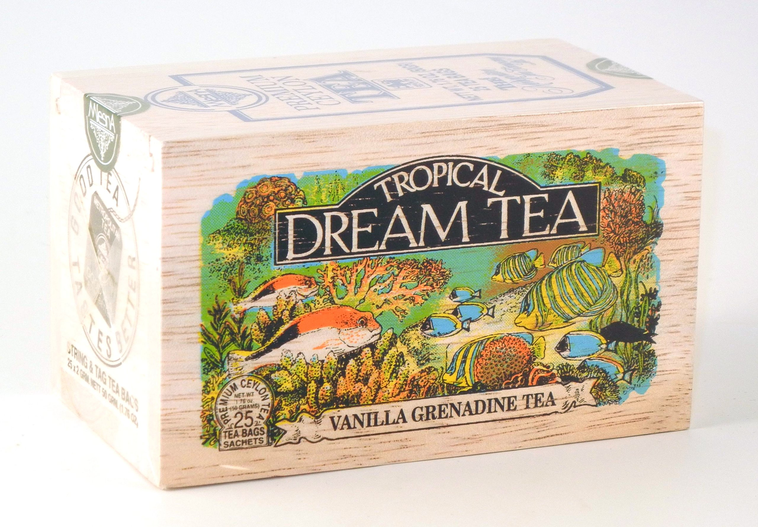 Tropical Dream Vanilla Grenadine Flavored Ceylon Black Tea, 25 Bags in Decorative Wood Crate - SALE