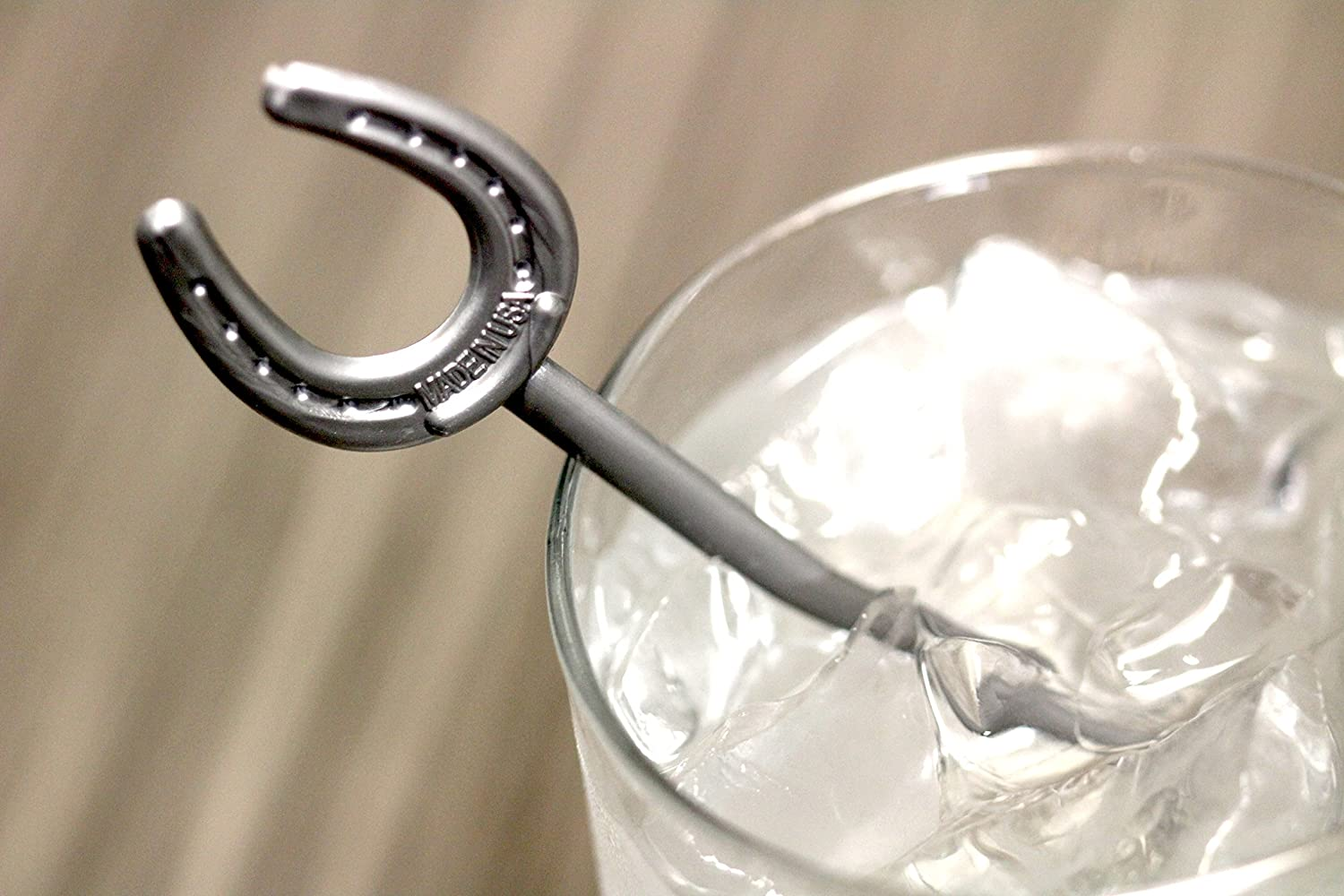 Royer 6 Plastic Horseshoe Derby Party Swizzle Sticks Made in USA Pearl Silver Set of 24