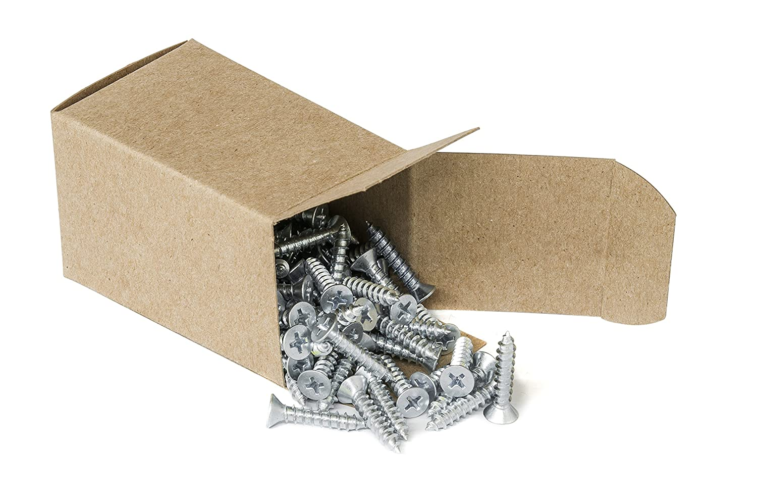 #10 x 1 Phillips Flat Head Countersink Screw Box of 100 or Fiberglass Zinc-Plated Steel for Attaches Sheet Metal to Wood Plastic