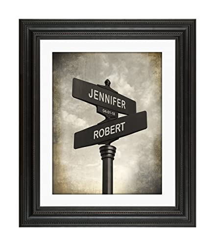 Lovers Crossroads - Personalized Keepsake Poster includes names and the Special Date