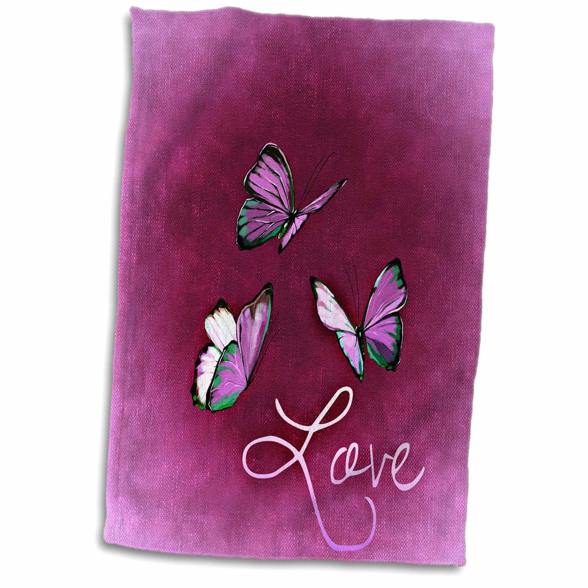 3D Rose Love Style with Butterfly and Pink Background Hand Towel, 15'' x 22'', Multicolor