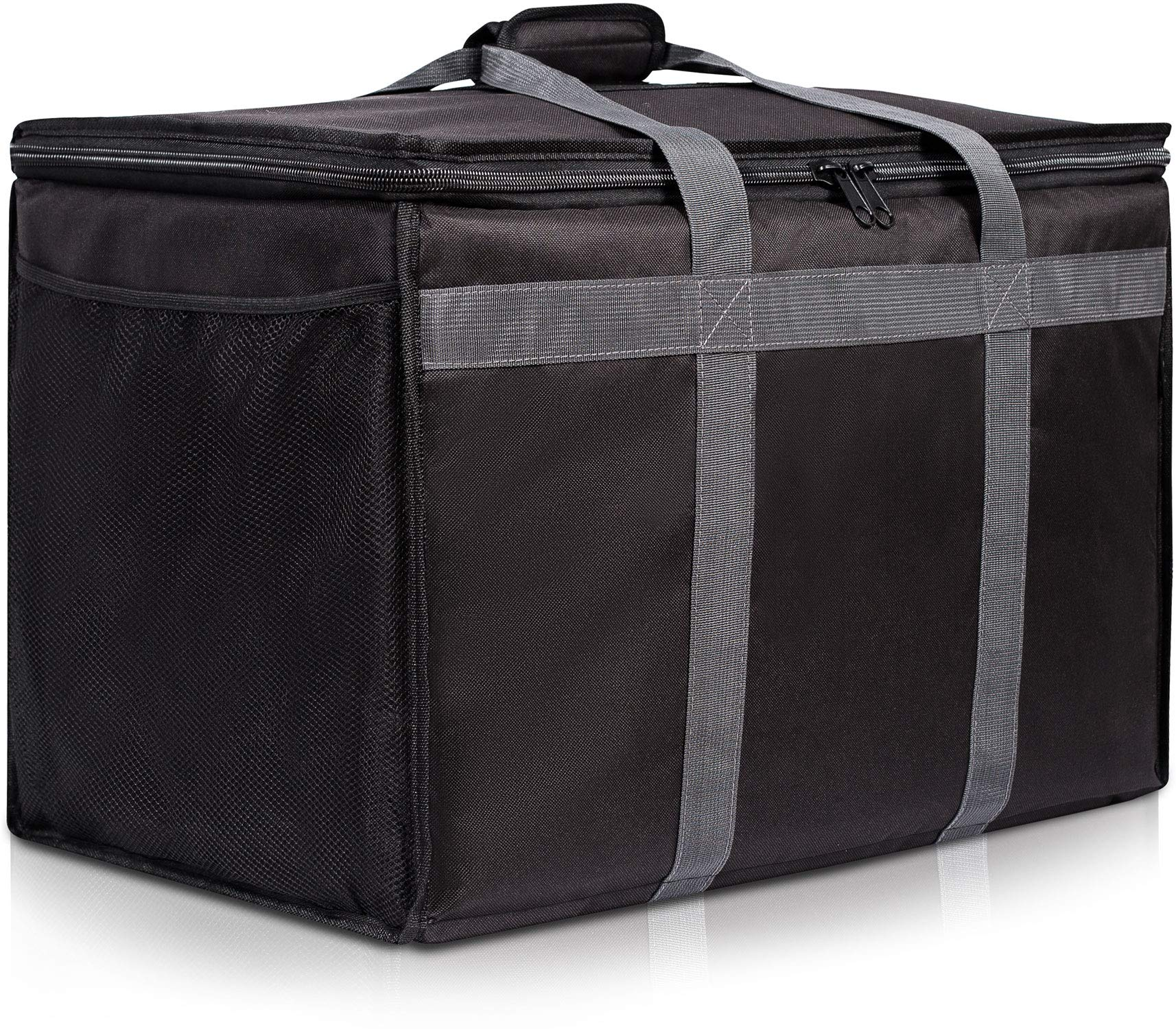 Insulated Commercial Food Delivery Bag with Side Pockets - Professional Food Warmer Portable Catering Hot/Cold Meals - Thick Insulation Cooler Bag Uber Eats, Doordash, Grocery Shopping - 23 x 15 x 14