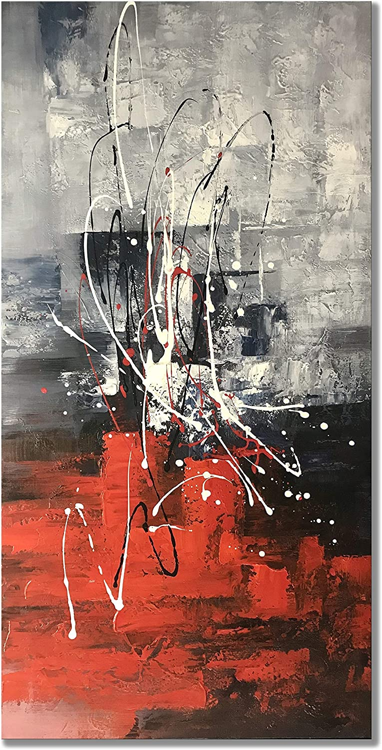 zoinart Abstract Vertical Paintings Canvas Wall Art 48x24inch Handmade Modern Colorful Oil Painting on Canvas Art Red Artwork for Living Room Aisle Bedroom Dining Room Wall Decor