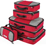 Savisto Packing Cubes, 6-Piece Best Value Suitcase Organiser, Compressible Luggage Cubes, Ideal for Holiday Baggage, Backpacking, Air Travel, Laundry & Home Storage - 6 Colour Options – Red