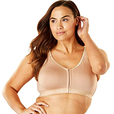 1284a9f1a6dbf Comfort Choice Women's Plus Size Front-Close Wireless Lounge Bra - Nude, ...