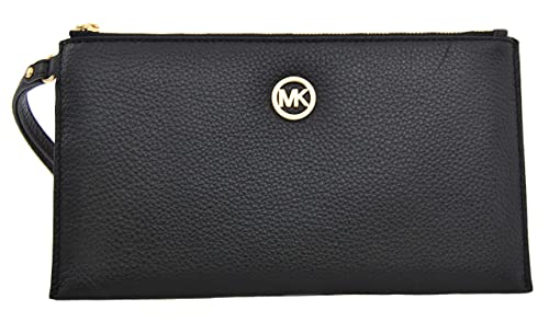 Image result for MICHAEL KORS FULTON LARGE ZIP CLUTCH LEATHER BLACK