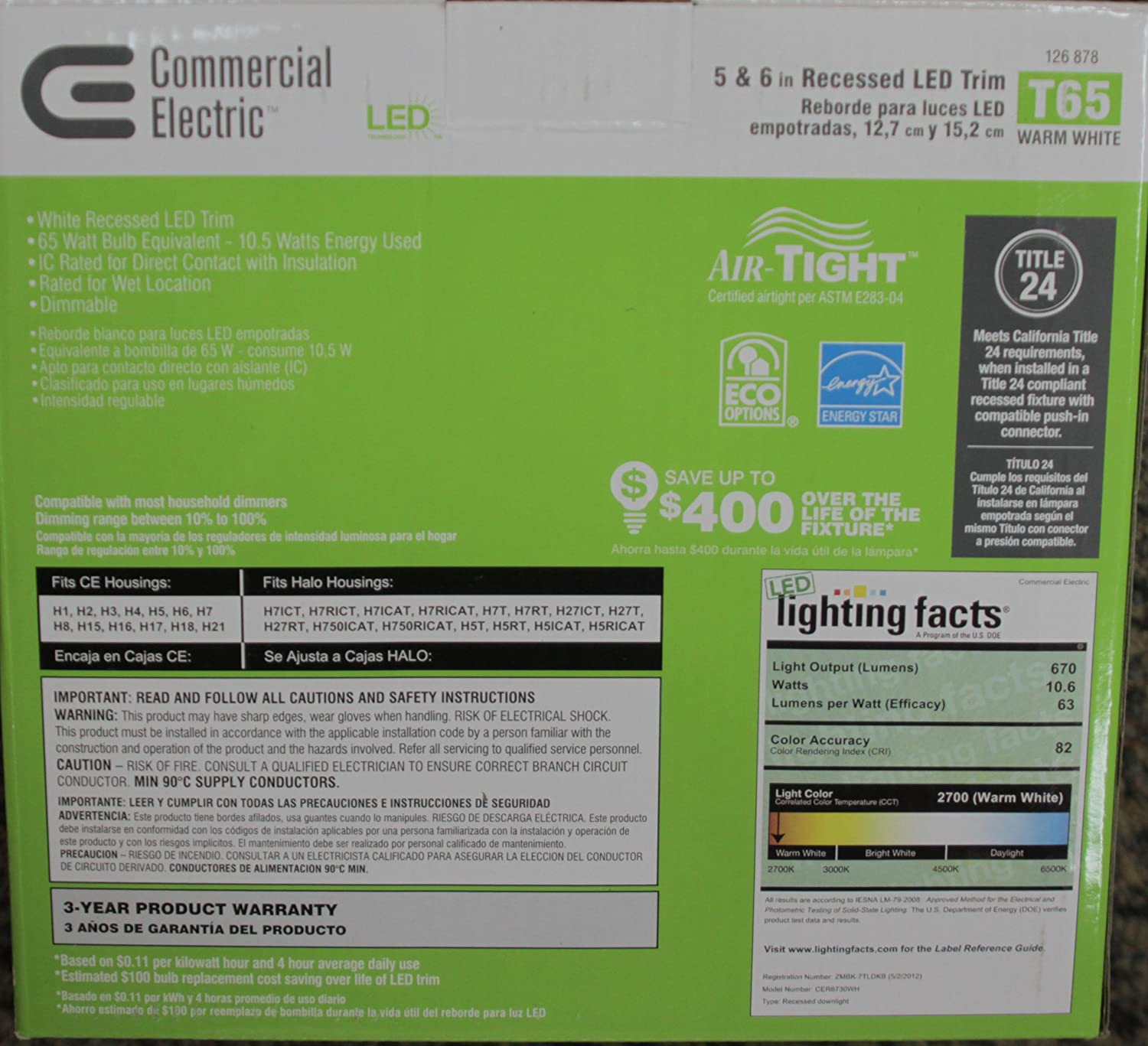 Qty 4 / Commercial Electric 5 and 6 in. Recessed LED Light 11 Watt Dimmable - Led Household Light Bulbs - Amazon.com