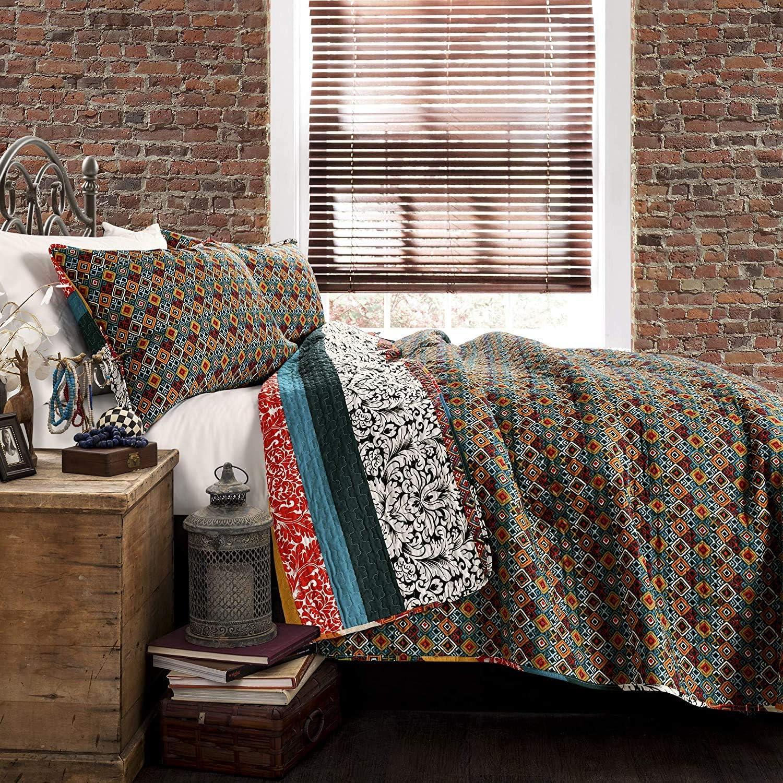 Full//Queen Lush Decor Bohemian Striped Quilt Reversible 3 Piece Colorful Boho Design Bedding Set Turquoise