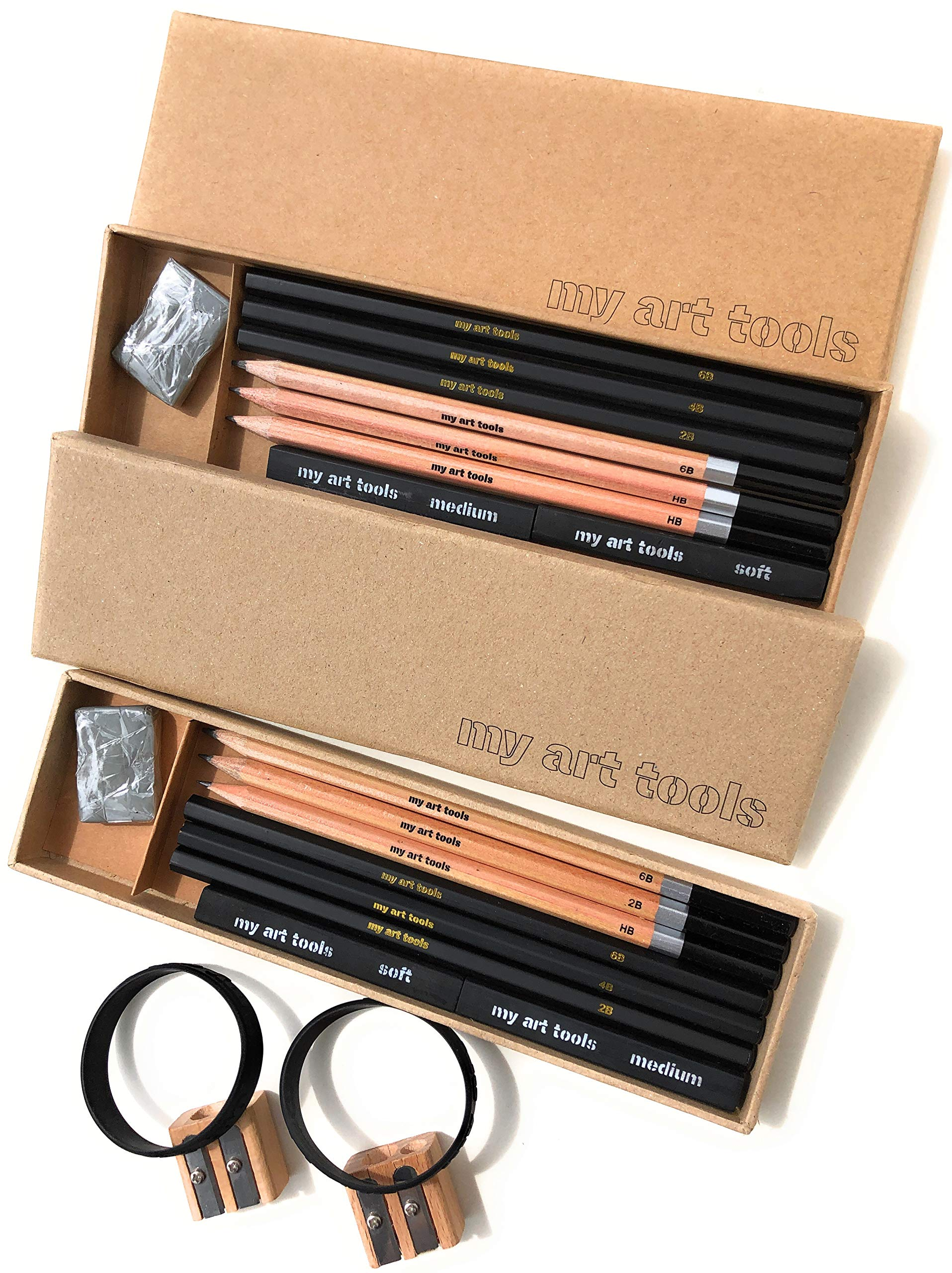 MY ART TOOL DRAWING PENCIL - Kits for Professional Sketch Artists Include Charcoal & Graphite, supplies, Compressed Sticks,Sharpener, Kneaded Eraser in 2 Art Kits, 10 Pieces EACH set - non plastic box by my art tools