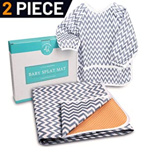 """Little Growers Baby Splat Mat for Under High Chair - 51"""" Spill 'n' Splash Baby Floor Mat and Baby Food Smock! Under Highchair Mat for Eating Mess with Non-Slip Backing! 100% Waterproof Floor Protector"""
