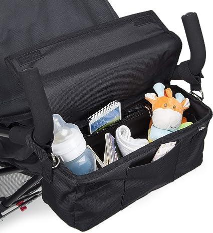 des bouteilles des couches des t/él/éphones portables et da Panier de rangement pour poussette Organisateur buggy sacoche pour landau avec beaucoup despace Grand espace de rangement pour les jouets