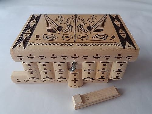 Caja puzzle nuevo grande natural con talla marrón caja de joyas talladas caja mágica misterio caja de madera rompecabezas caja secreta trinket complicado cajón de madera caja escondida: Amazon.es: Handmade