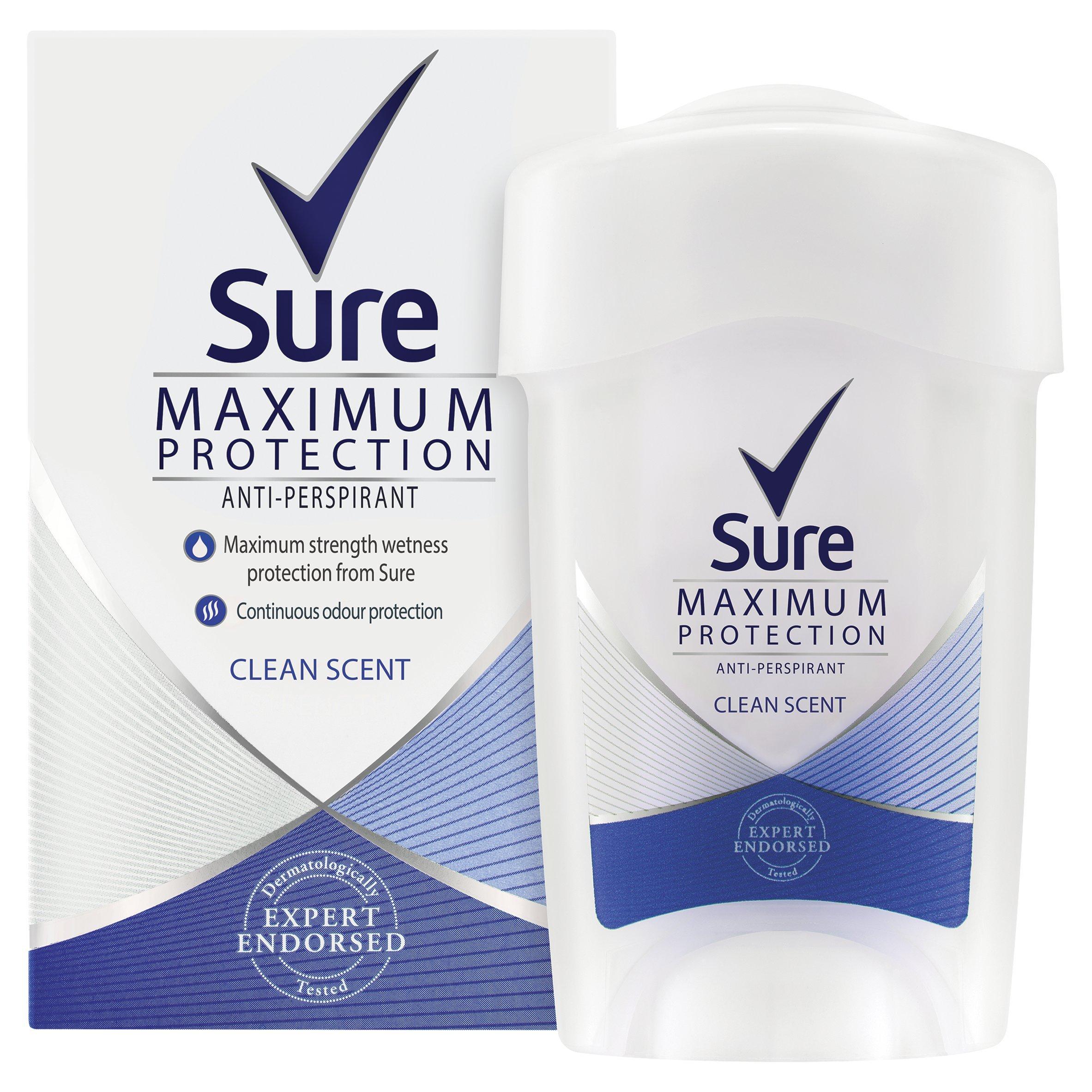 Sure Women Maximum Protection Clean Scent Cream Anti-Perspirant Deodorant 45 ml