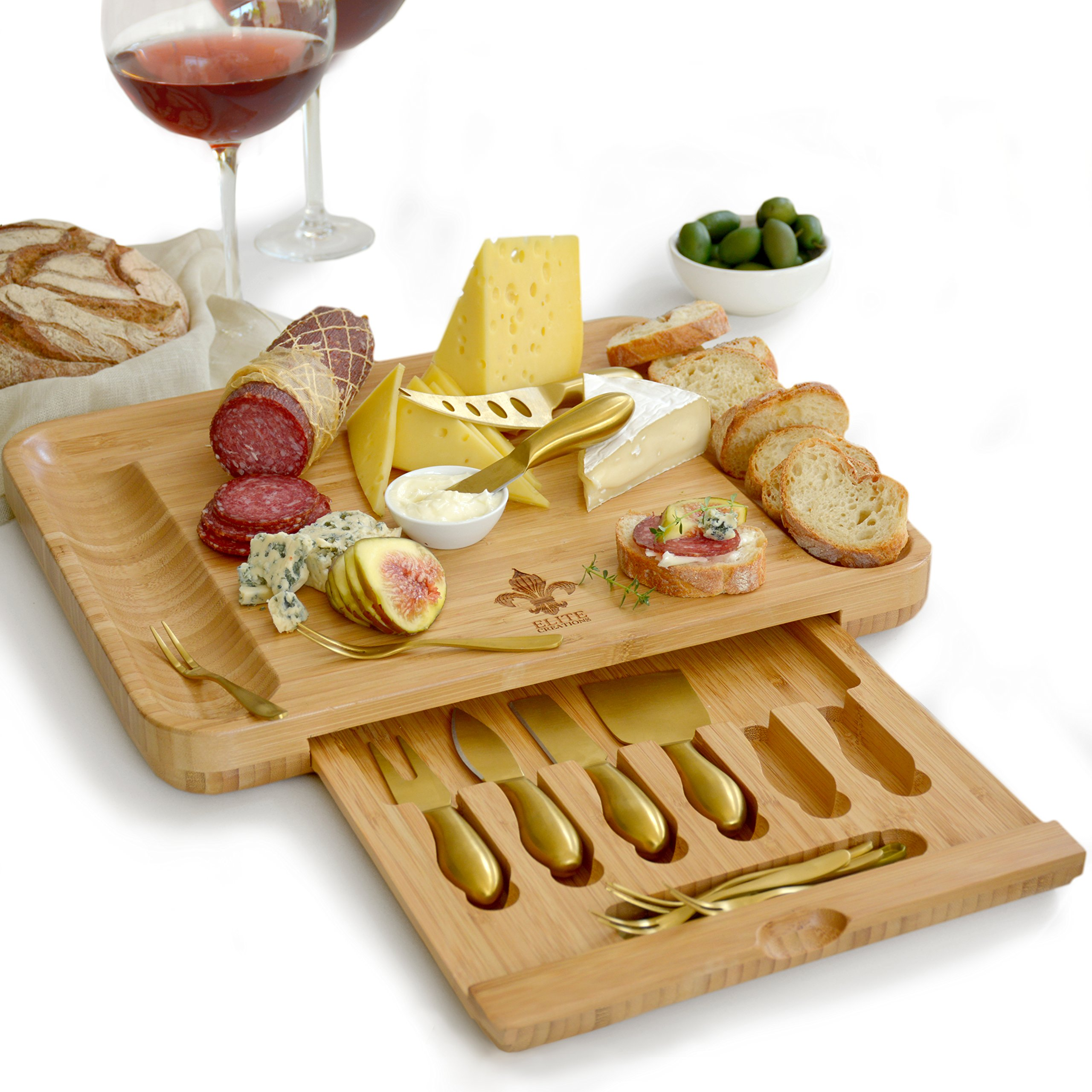 Exquisite Cheese Cutting Board & Knife Set - X-Large Bamboo board (15.75''x13'') with 6 Stainless Steel gold Brushed Finish Cheese Slicer Tools + 6 Tasting Forks By Elite Creations (Gold)