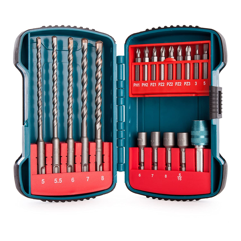 Makita P-66086 19PCS SDS+ Drill & Drive Set, Blue, 1