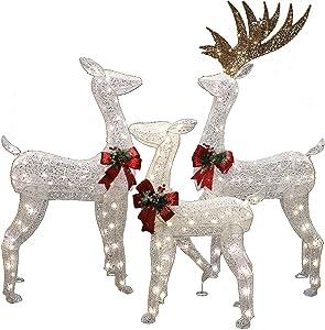 3 Packs Christmas Reindeers, Buck, Doe, Fawn LED Yard Lights for Christmas Outdoor Yard Garden Decorations, Christmas Event Decoration, Christmas Eve Night Decor