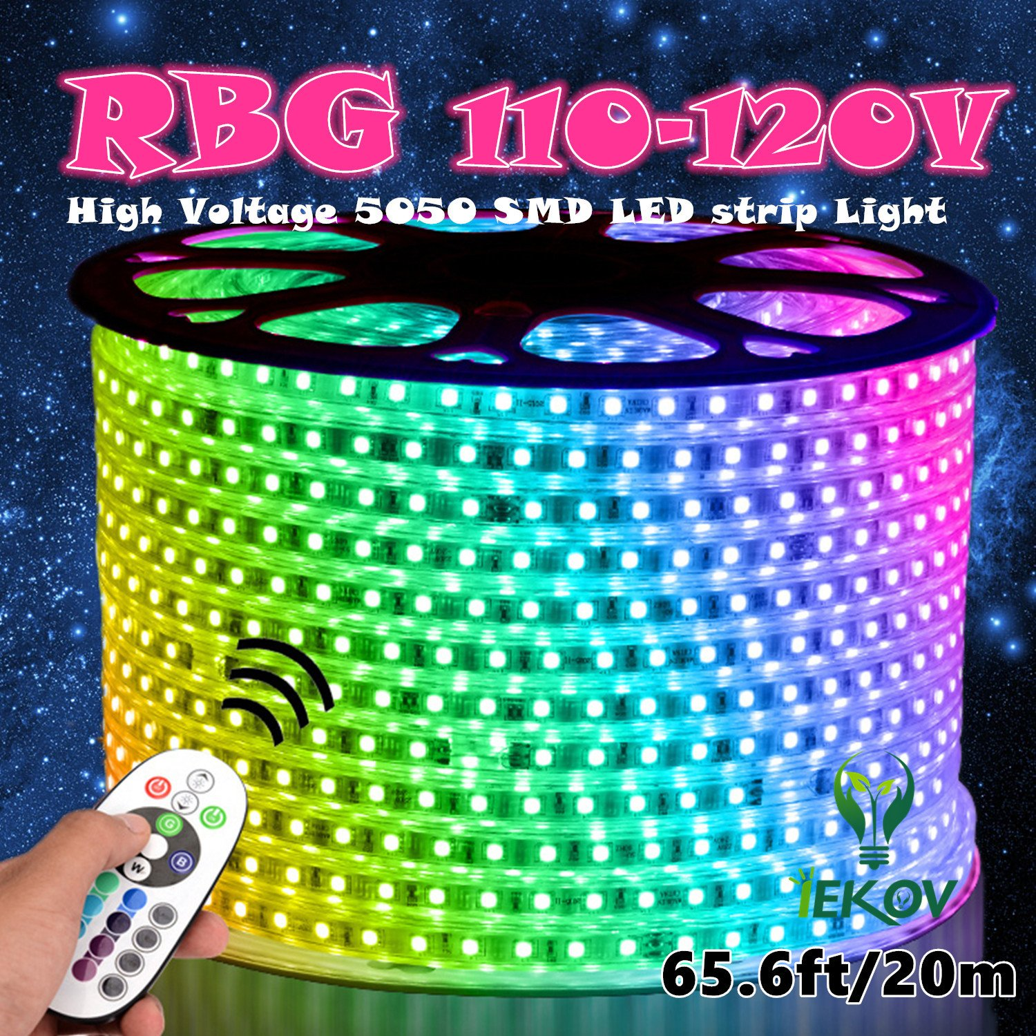 IEKOV™ AC 110-120V Flexible RGB LED Strip Lights, 60 LEDs/M, Waterproof, Multi Color Changing 5050 SMD LED Rope Light + Remote Controller for Party Christmas Decoration (65.6ft/20m)