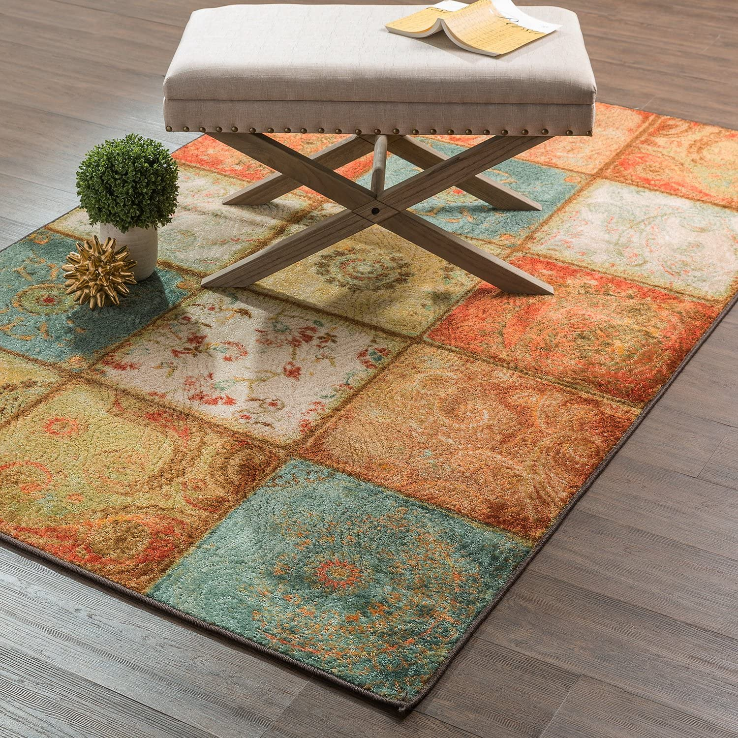 Mohawk Home Free Flow Artifact Panel Multicolor Patchwork Printed Area Rug, 7'6x10', Multicolor