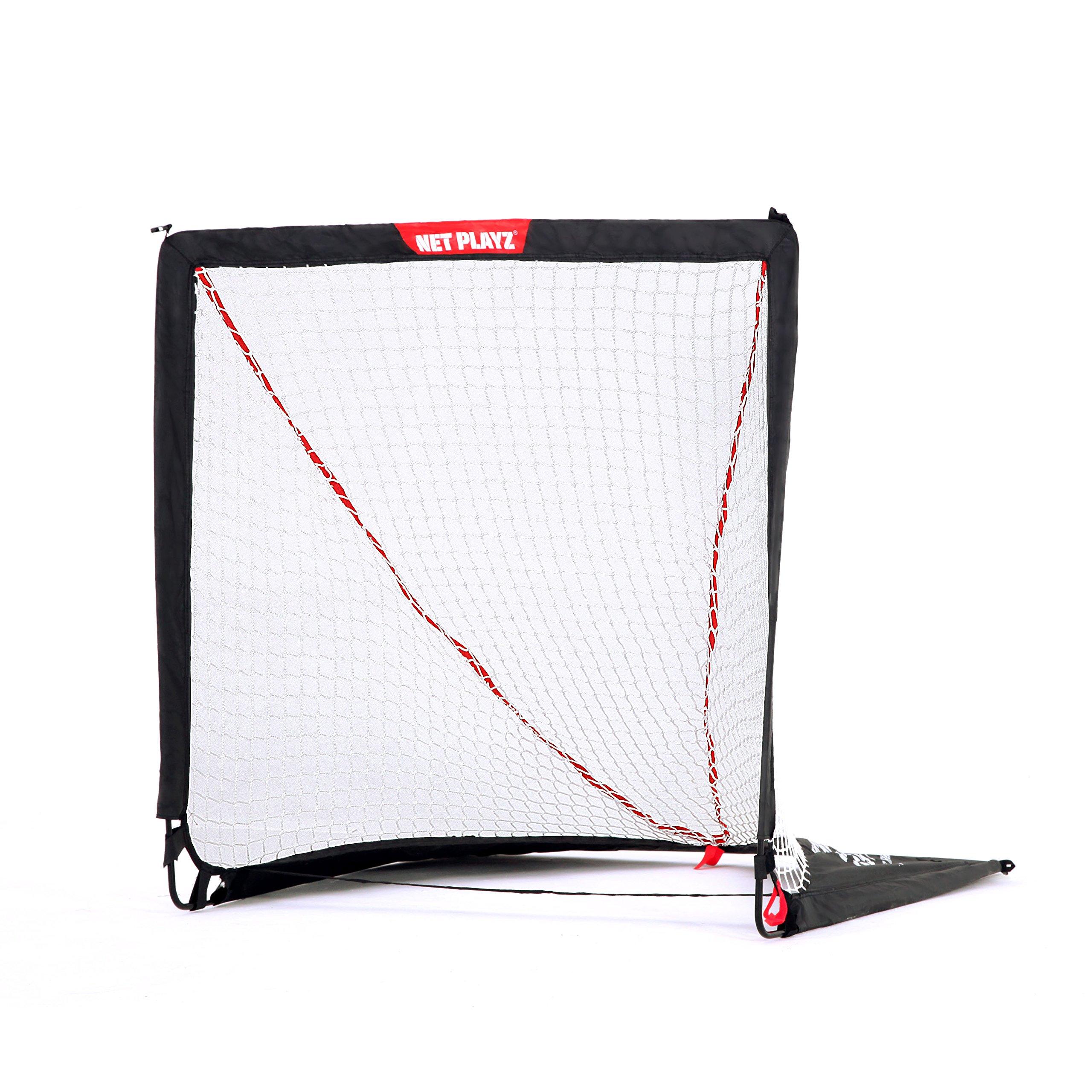 NET PLAYZ 4 x 4 x 4 Feet Lacrosse Goal Fast Install, Fiberglass Frme, Lightweight, Foldable, Portable, Carry bag Included by NET PLAYZ (Image #1)