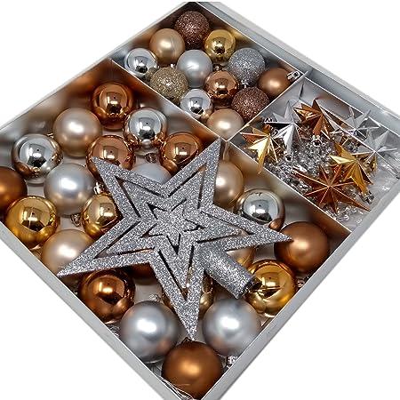 ToCi 45-teiliges Christbaumschmuck Set Baumschmuck Blush mit Weihnachtskugeln Christbaumspitze Sternen Perlenkette Weihnachte