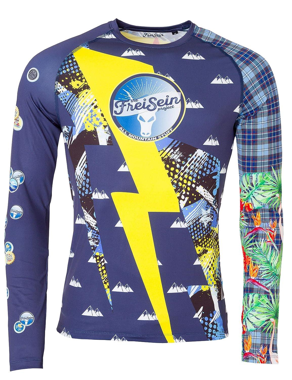 mit Totenkopf Blitz und weiteren coolen Prints Herren FreiSein Langarm Base-Layer Funktions-Shirt Freefall
