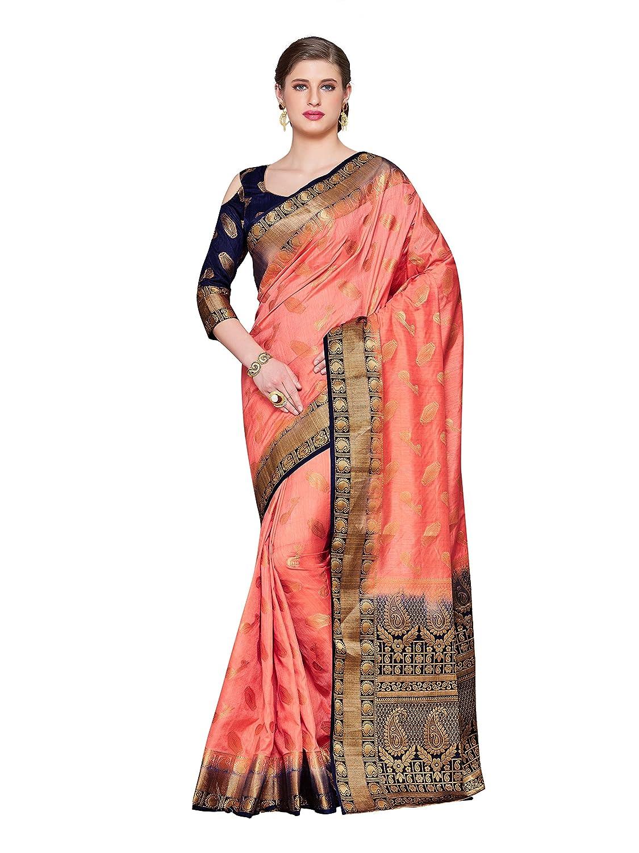 Peach Kanchipuram Silk Saree With Blouse Piece