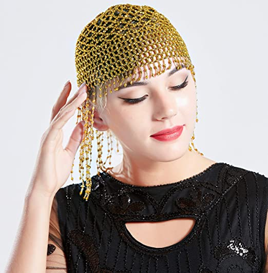 1920s Accessories | Great Gatsby Accessories Guide BABEYOND 1920s Beaded Cap Headpiece Roaring 20s Beaded Flapper Headpiece Belly Dance Cap Exotic Cleopatra Headpiece for Gatsby Themed Party (Gold) $14.99 AT vintagedancer.com