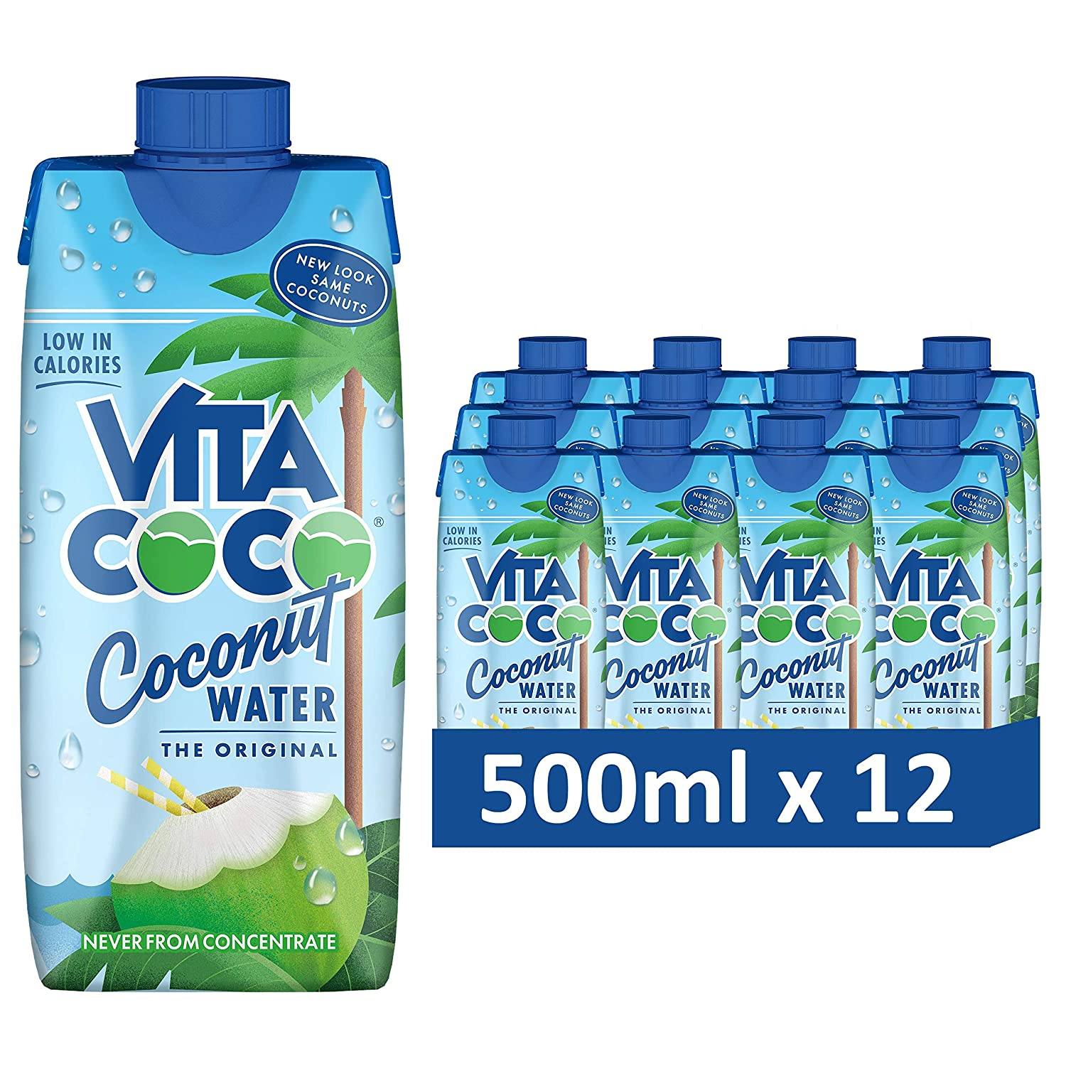 Vita Coco - Pure Coconut Water (500ml x 12) - Naturally Hydrating - Packed With Electrolytes - Gluten Free - Full Of Vitamin C & Potassium