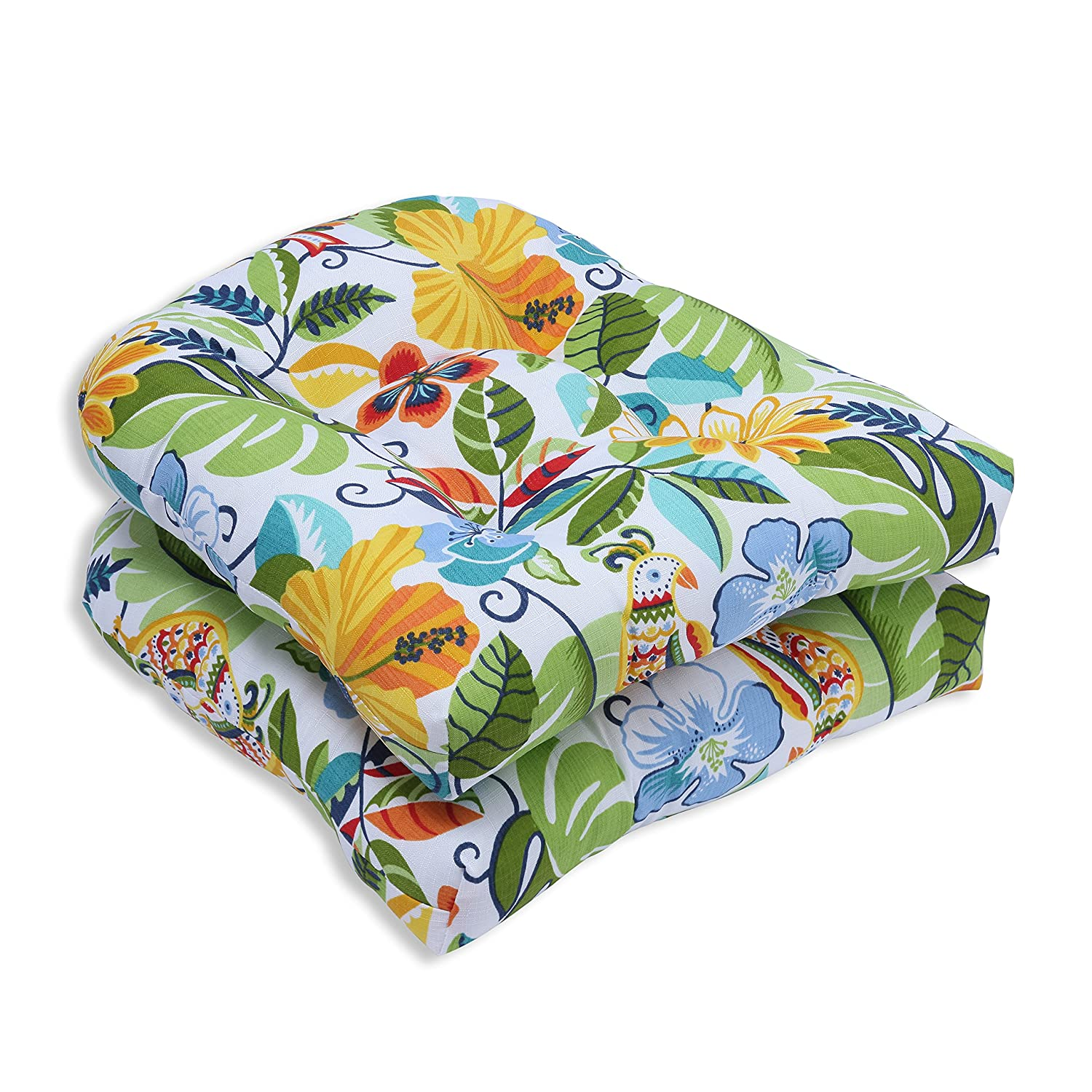 Pillow Perfect Outdoor Indoor Lensing Jungle Wicker Seat Cushion, Set of 2