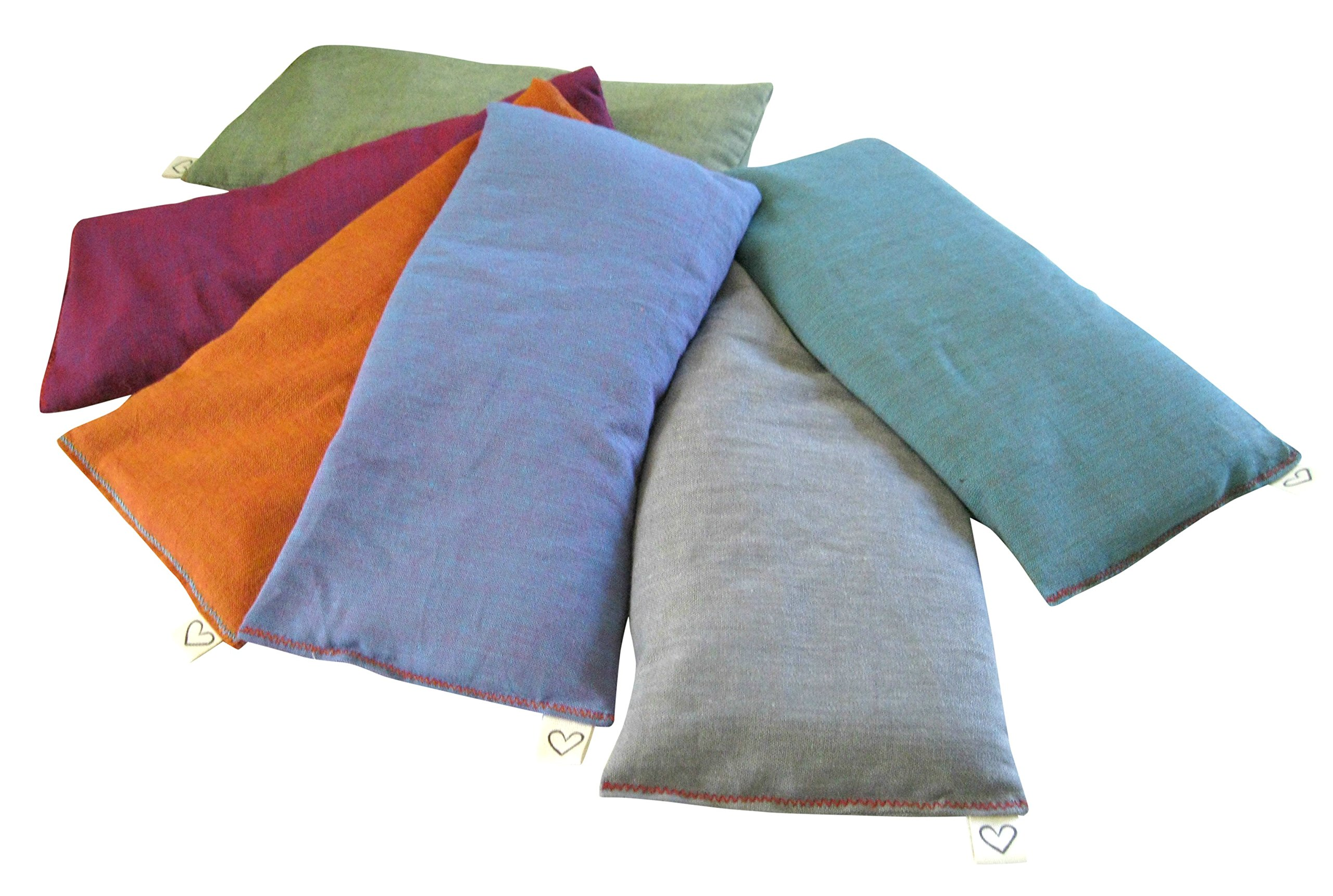 Peacegoods (6 Scented Lavender Flax Seed Eye Pillows - 4 x 8.5 - Soft & Soothing Cotton - Naturally Calming Colors - Teal Green Purple Terracotta Gray Lilac by Peacegoods