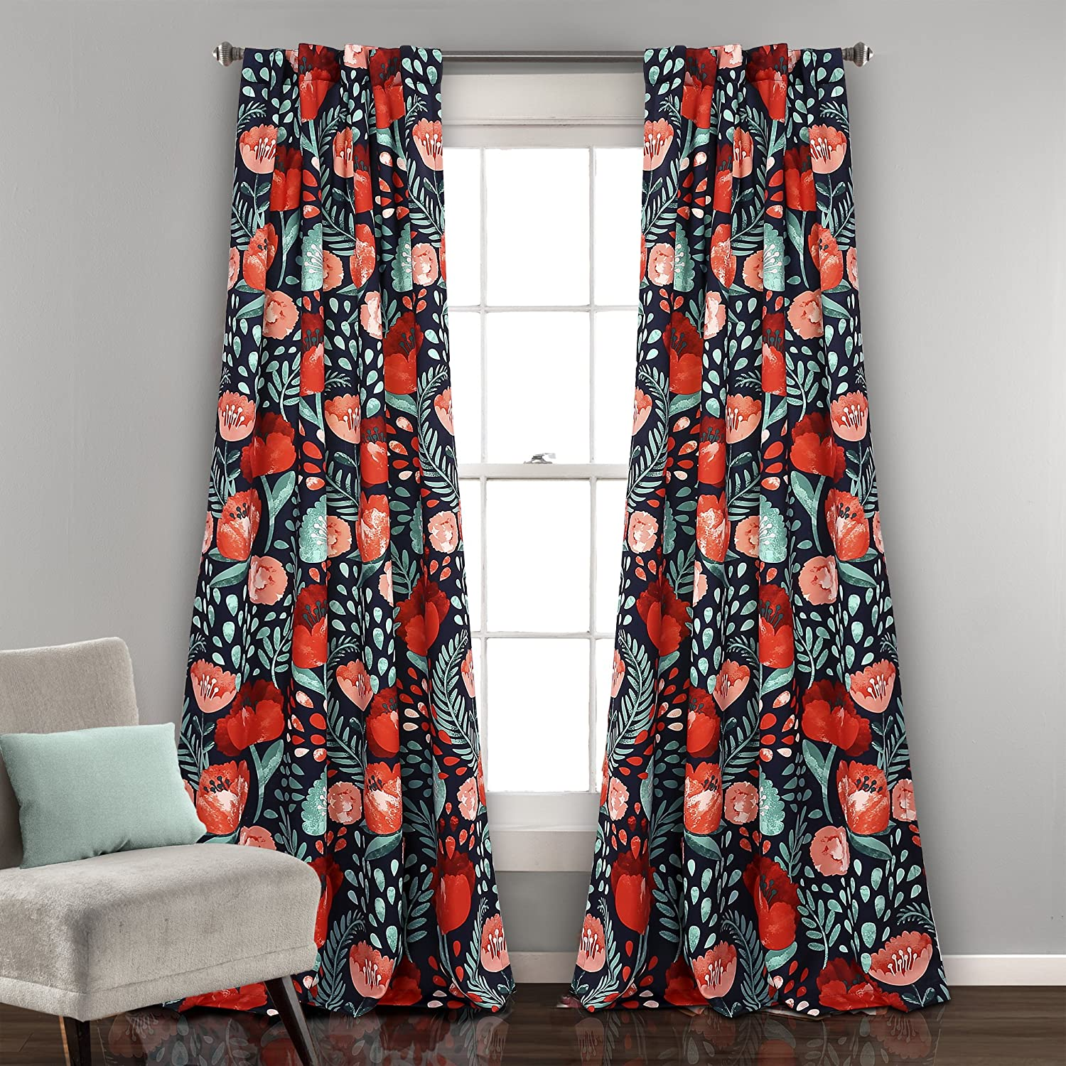 "Lush Decor Poppy Garden Curtains Room Darkening Window Panel Set for Living, Dining, Bedroom (Pair), 84"" x 52"", Navy"
